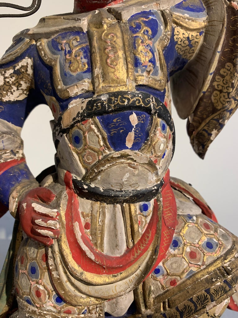 Japanese Painted Wood Figure of a Guardian King, Edo Period, 18th Century For Sale 1