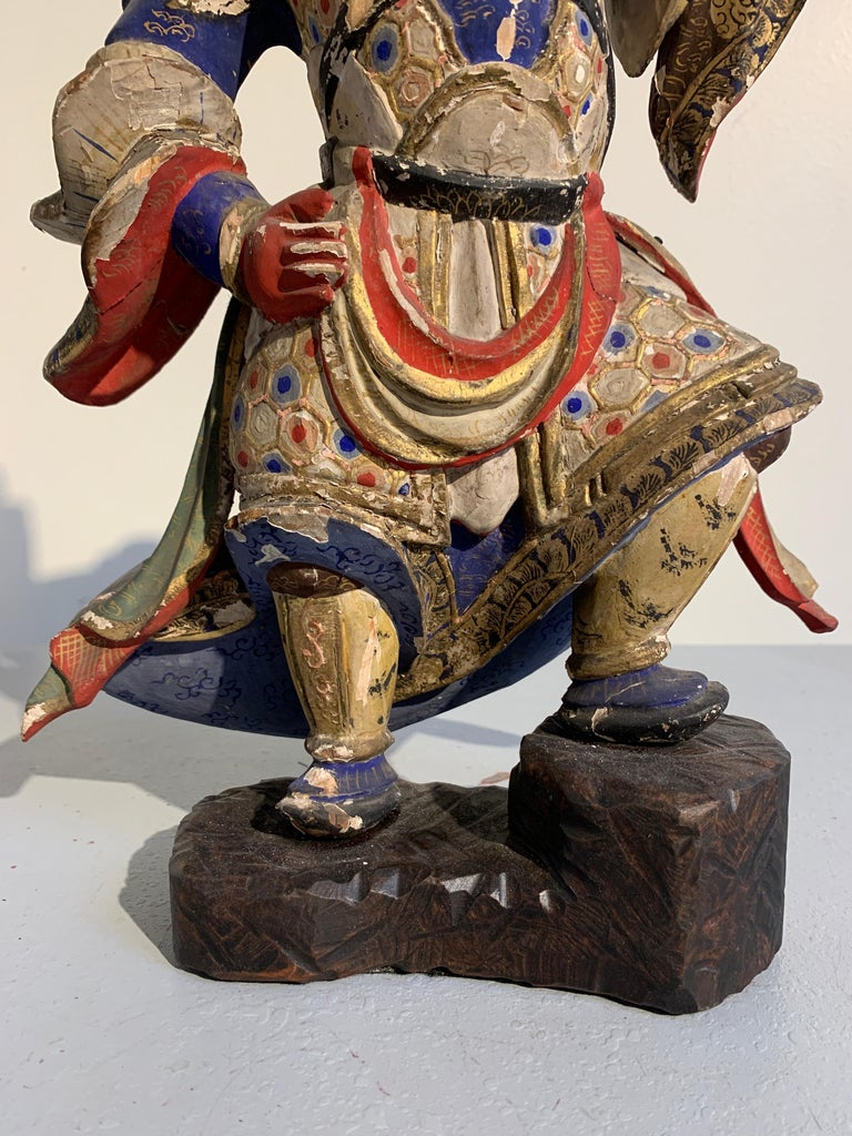 Japanese Painted Wood Figure of a Guardian King, Edo Period, 18th Century For Sale 2