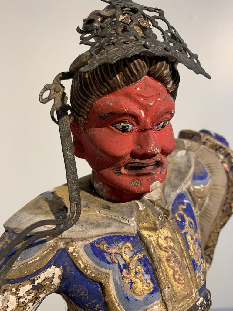 Japanese Painted Wood Figure of a Guardian King, Edo Period, 18th Century For Sale 3