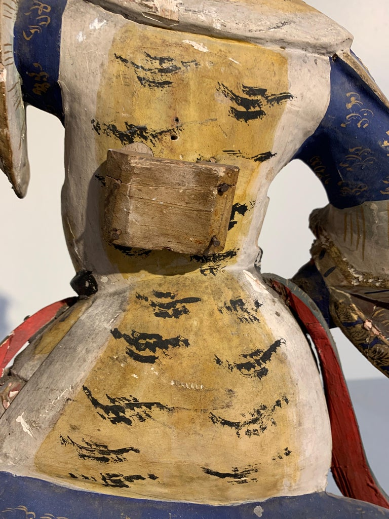 Japanese Painted Wood Figure of a Guardian King, Edo Period, 18th Century For Sale 4