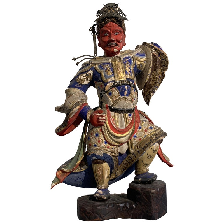 Japanese Painted Wood Figure of a Guardian King, Edo Period, 18th Century For Sale