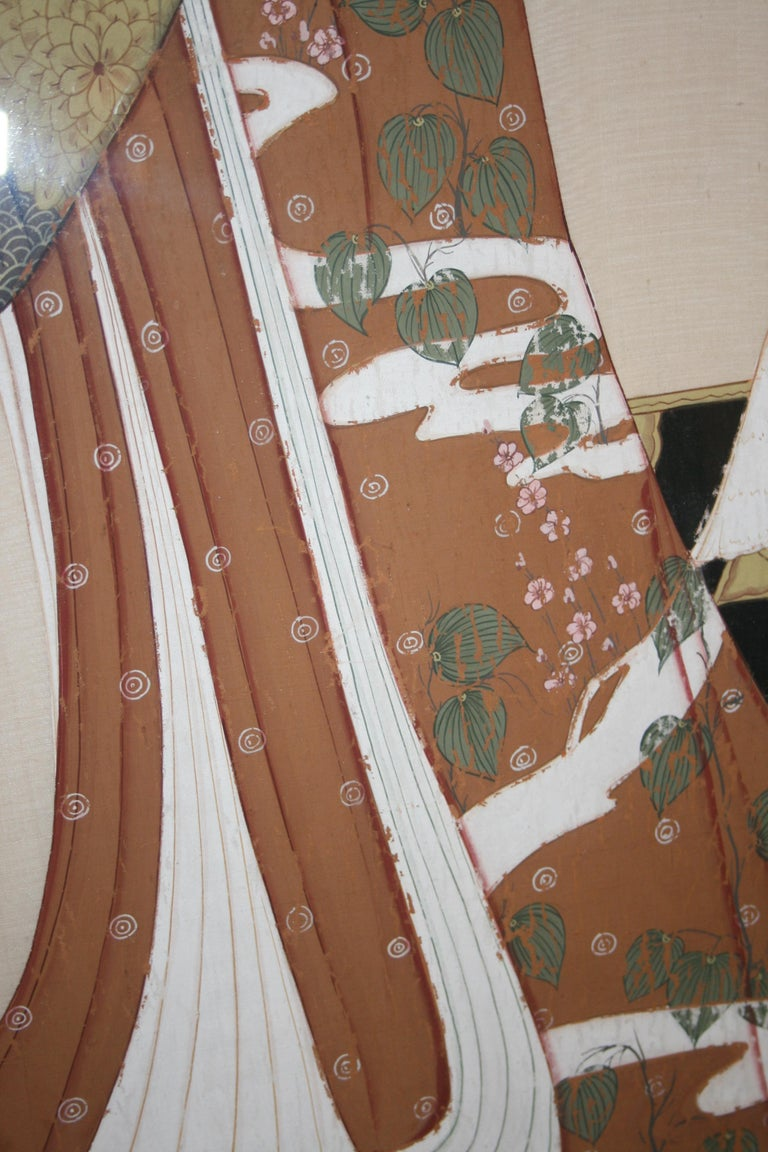 Japonisme Japanese Painting on Silk For Sale