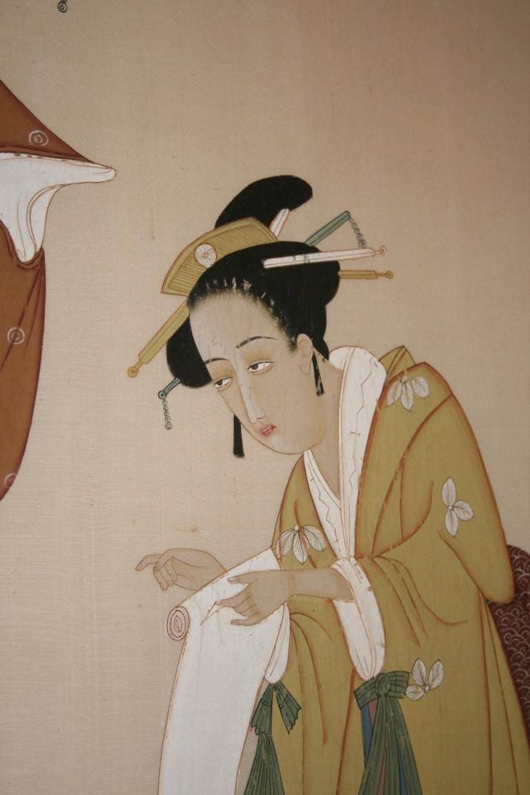Hand-Painted Japanese Painting on Silk For Sale