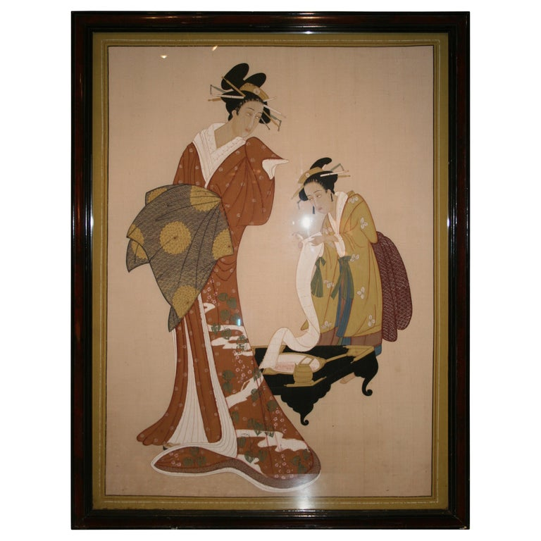 Japanese Painting on Silk For Sale