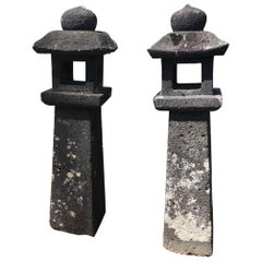 "Japanese Pair '2' of Antique Stone ""Pathway Lanterns"", 19th Century"