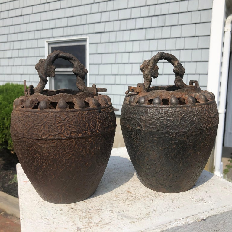 Japanese Pair Antique Iron Root Handled Hanging Flower Vases, 19th Century For Sale 6