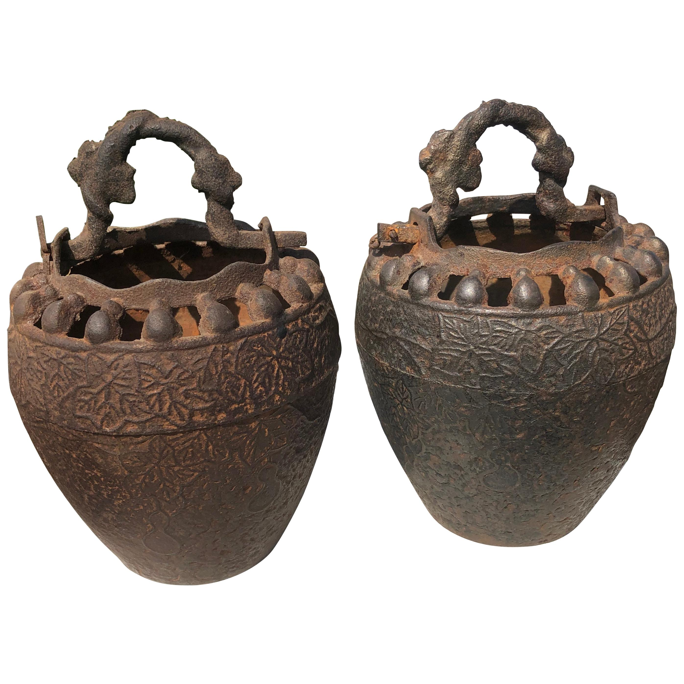 Japanese Pair Antique Iron Root Handled Hanging Flower Vases, 19th Century