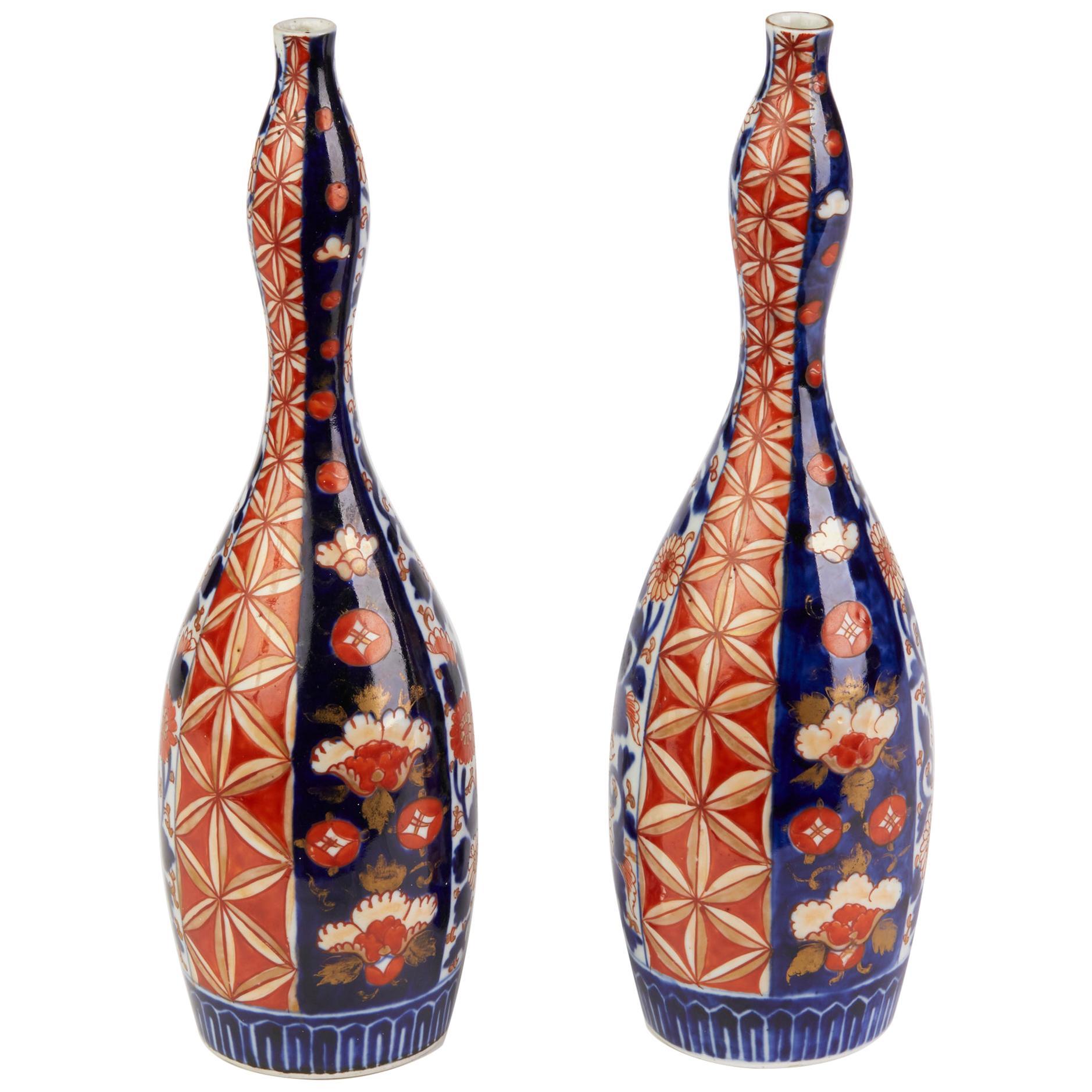 Japanese Pair of Meiji Double Gourd Imari Bottle Shaped Vases