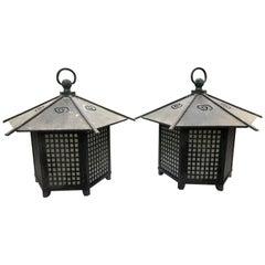 "Japanese Pair of ""Cloud Roof"" Bronze Light Fixtures"