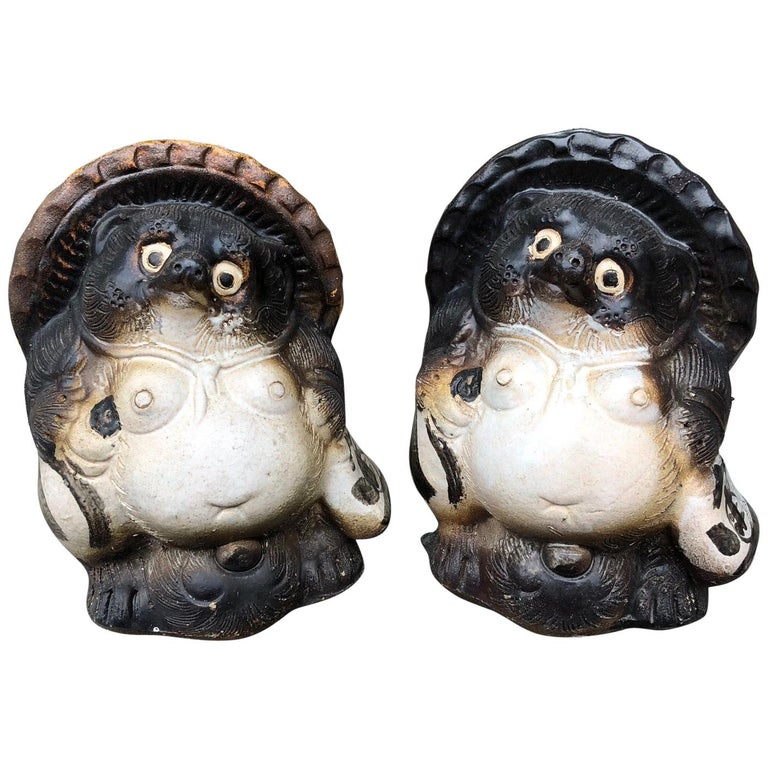 Japanese Pair of Smiling Hero Tanukis Handmade Glazed Big Belly Sculptures For Sale