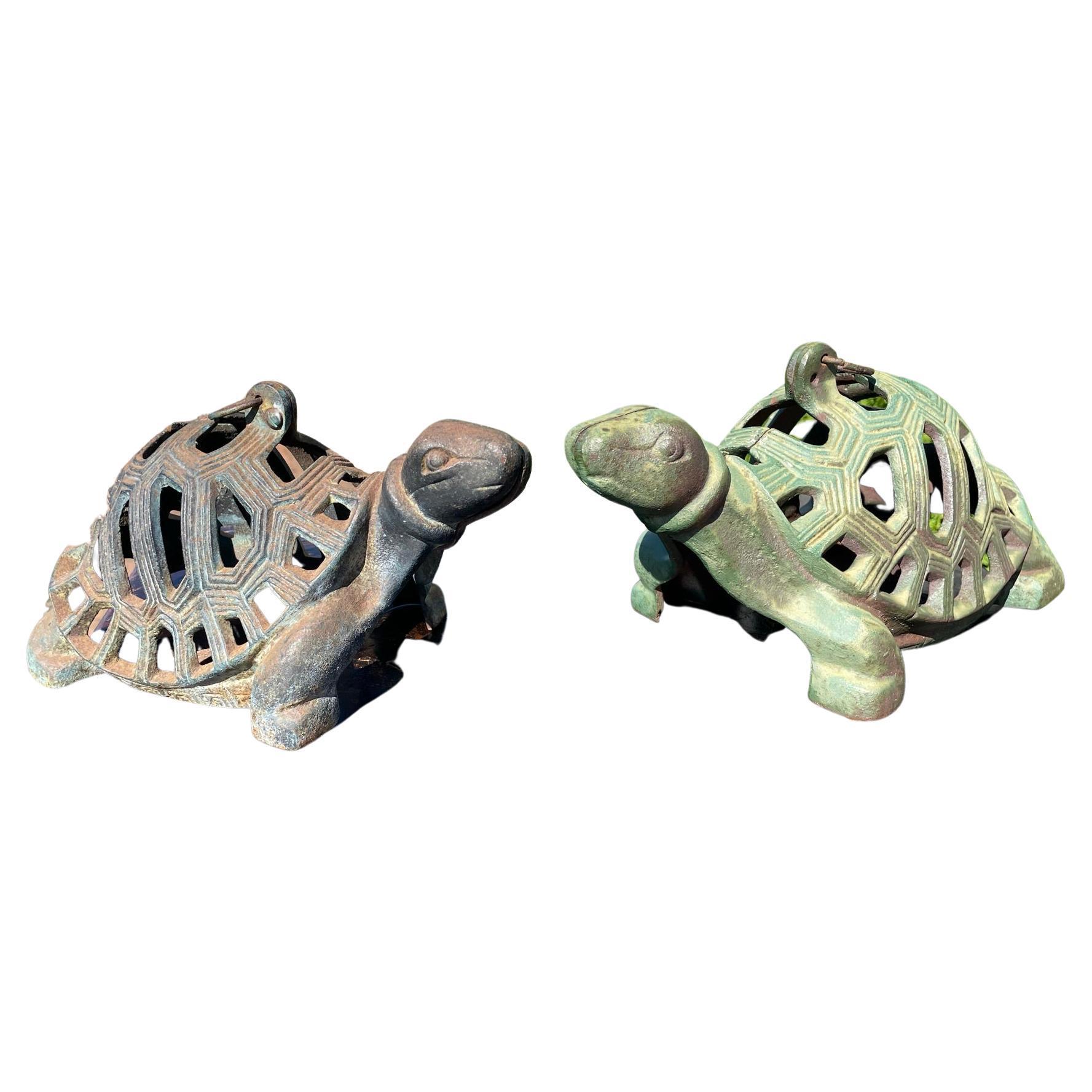"Japanese Pair Old ""Turtle"" Garden Lanterns"