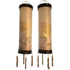 """Japanese Pair Silk """"Spring Flowers"""" Hanging Lantern Lights"""