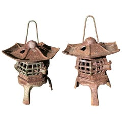 "Japanese Pair of Tea Garden ""Heart Roof"" Lanterns"