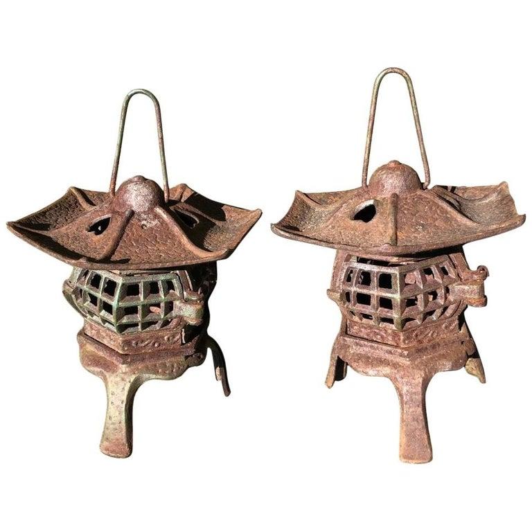 "Japanese Pair of Tea Garden ""Heart Roof"" Lanterns For Sale"