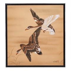 Japanese Panel Screen Hand Painted Geese on Paper, 20th Century