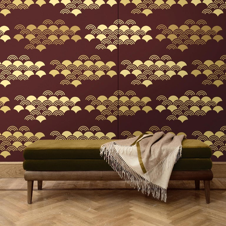 Part of the Japanese Pattern collection, this elegant and modern wall covering will add a graphic accent to an eclectic or contemporary interior, adding the warmth of its red and yellow color palette to any room in the house. It was crafted of silk