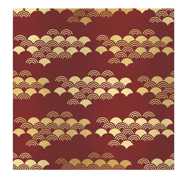 Modern Japanese Pattern Red Panel  For Sale