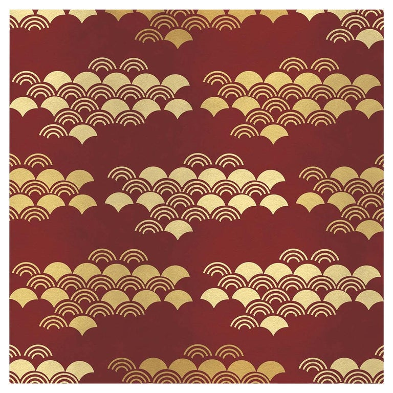 Japanese Pattern Red Panel  For Sale