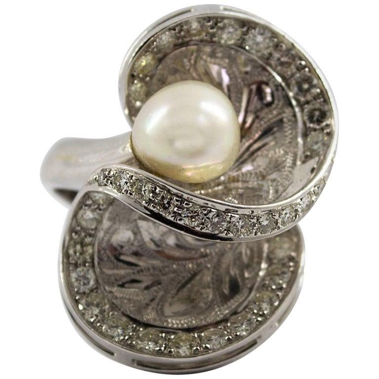 Diamond White Usa >> Japanese Pearl 2 35 Carat White Diamond White Gold Cocktail Ring