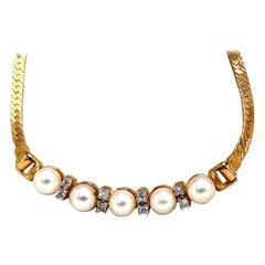 Japanese Pearls and .08 Carat Diamonds Herring Bone Necklace 14 Karat