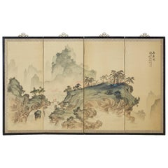 Japanese Meiji Period Four-Panel Landscape Screen
