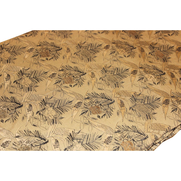Antique Japanese silk obi with pine leaves and flower design was used as a belt on top of a woman's kimono. It can be used as a table runner or as a wall hanging. Meiji period, circa 1885.