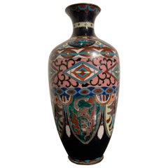Japanese Pink and Blue Ground Cloisonné Vase, Meiji Period, Early 20th Century