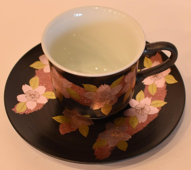 Contemporary Japanese Pink Black Silver Leaf Porcelain Cup and Saucer by Master Artist For Sale