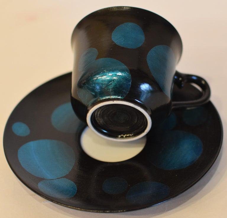 Japanese Pink Black Silver Leaf Porcelain Cup and Saucer by Master Artist For Sale 3