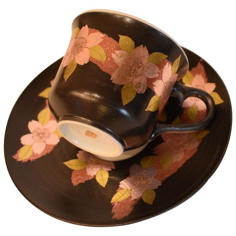 Japanese Pink Black Silver Leaf Porcelain Cup and Saucer by Master Artist For Sale
