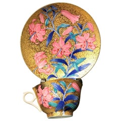 Japanese Pink Blue Gilt Porcelain Cup and Saucer by Master Artist