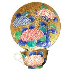 Pink Blue Gold Porcelain Cup and Saucer by Japanese Contemporary Master Artist