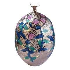 Japanese Pink Green Platinum Porcelain Vase by Master Artist
