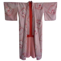Japanese pink red silk brocade Sakura Orchid Kimono Exceptional vintage