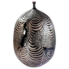 Japanese Platinum Black Porcelain Vase by Contemporary Master Artist