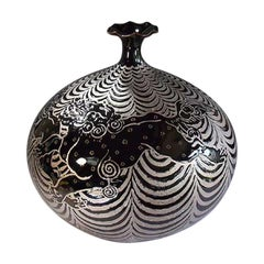 Japanese Platinum-Gilded Black Porcelain Vase by Contemporary Master Artist