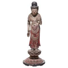 Japanese Polychrome Standing Shō Kannon Figure, circa 1900