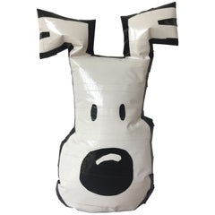 Japanese Pop Art Dog Face Made from Duct Tape