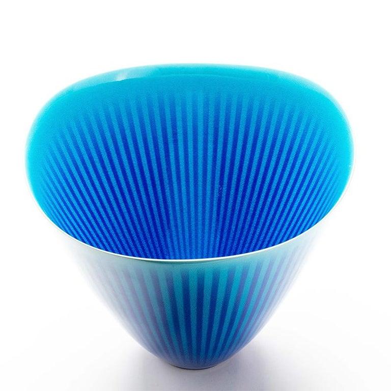 Enameled Japanese Porcelain Blue and Turquoise Striped Deep Bowl by Atsushi Miyanishi For Sale