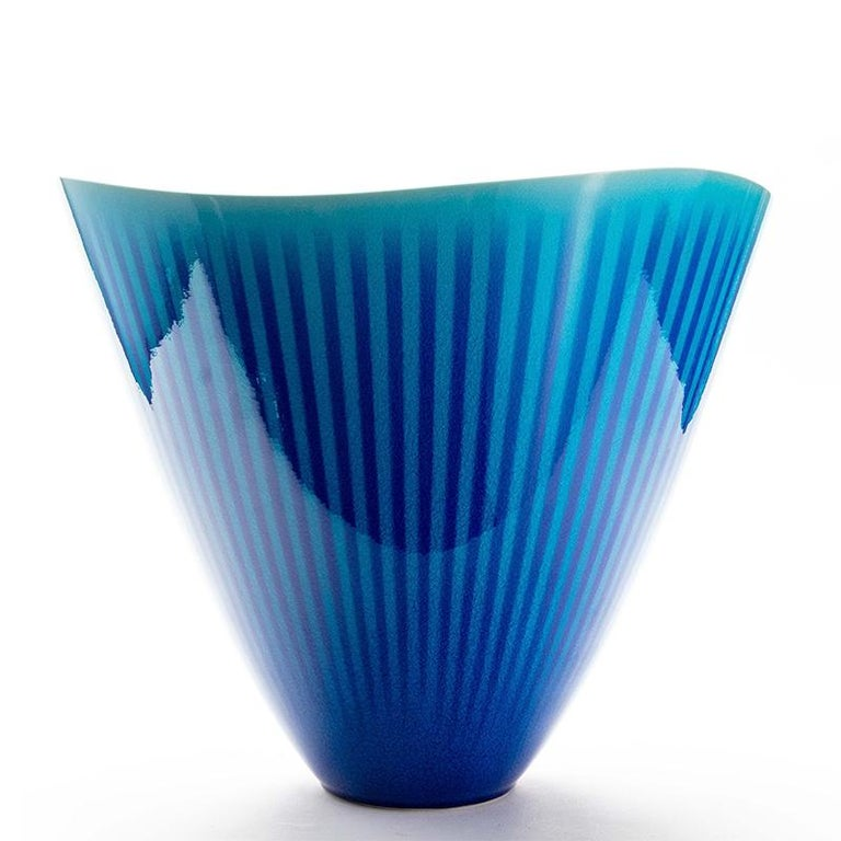 Japanese Porcelain Blue and Turquoise Striped Deep Bowl by Atsushi Miyanishi For Sale 1