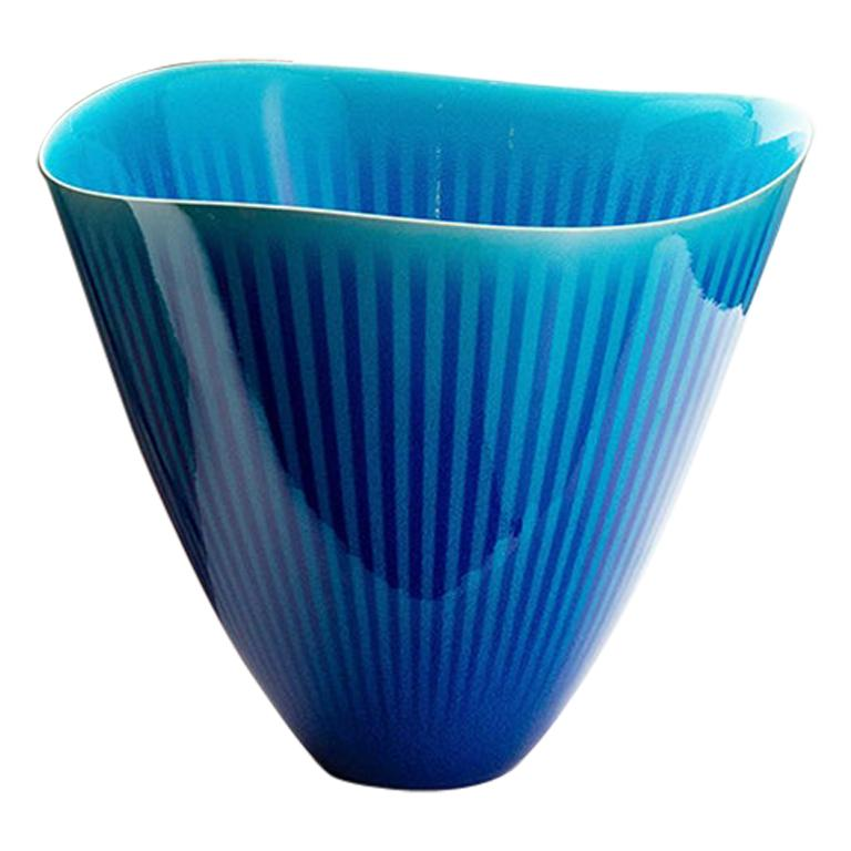 Japanese Porcelain Blue and Turquoise Striped Deep Bowl by Atsushi Miyanishi For Sale