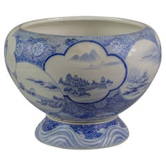 Japanese Porcelain Blue and White Fish Jardiniere on Stand, circa 1890