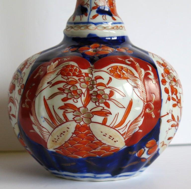 Japanese Porcelain Bottle Vase Hand Painted Imari, Meiji Period Circa 1875 For Sale 5