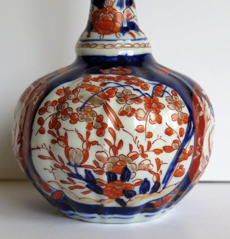Japanese Porcelain Bottle Vase Hand Painted Imari, Meiji Period Circa 1875 For Sale 6