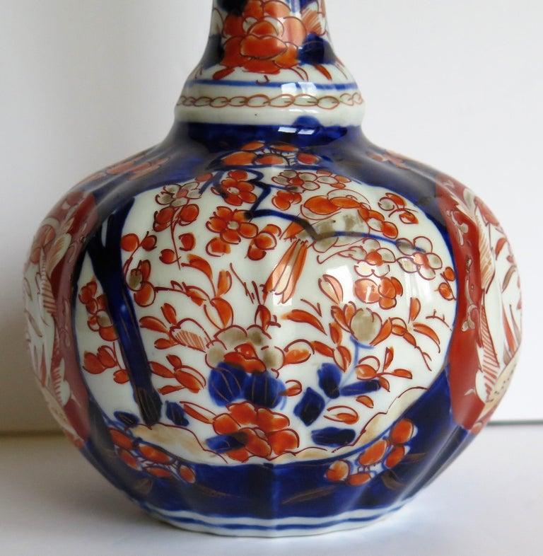 Japanese Porcelain Bottle Vase Hand Painted Imari, Meiji Period Circa 1875 For Sale 8