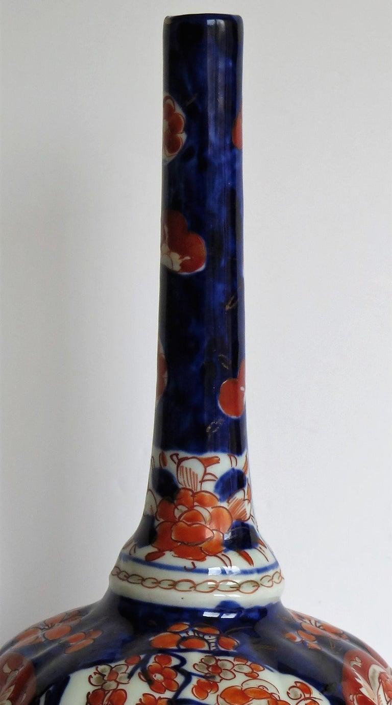 Japanese Porcelain Bottle Vase Hand Painted Imari, Meiji Period Circa 1875 For Sale 9
