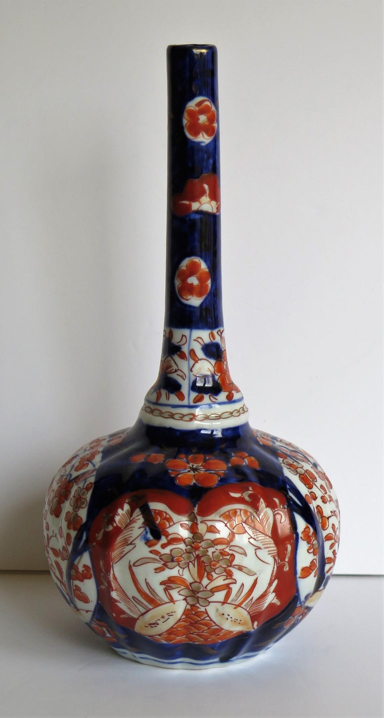 19th Century Japanese Porcelain Bottle Vase Hand Painted Imari, Meiji Period Circa 1875 For Sale