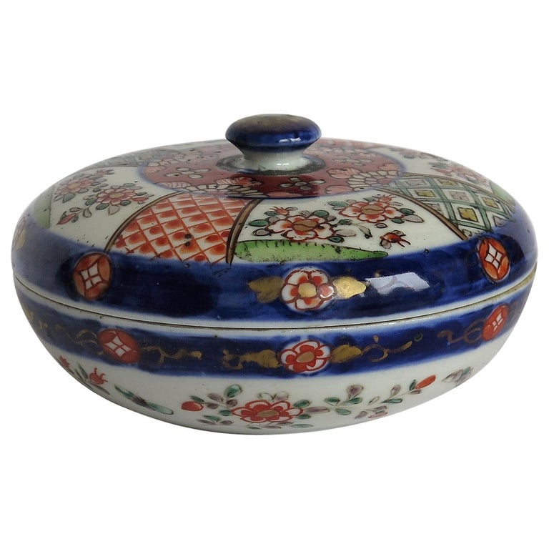 Japanese Porcelain Circular Lidded Box Hand Painted, Meiji Period, circa 1880 For Sale