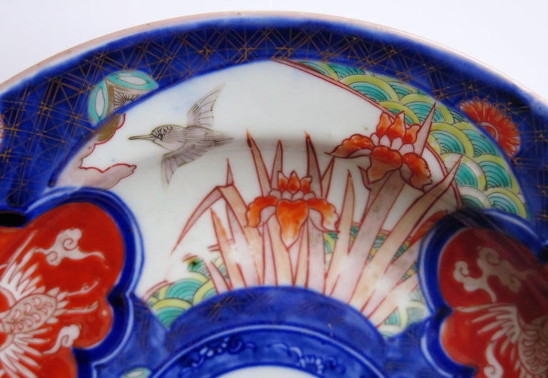 Japanese Porcelain Deep Plate or Bowl Hand Painted, Meiji Period circa 1870 For Sale 5
