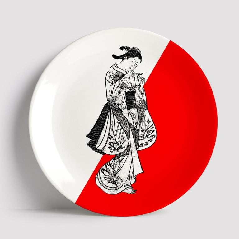 Beautiful Woman Japanese porcelain dinner plate by Plus Lab will make an elegant statement with sophisticated Art de la table for every occasion  Handmade in Italy  Upon request available in a set of three or six plates.